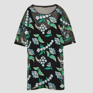 Zara Women's Dress Floral Embroidered Mesh Size S